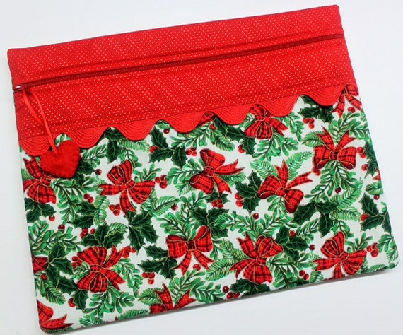 Bows and Holly Cross Stitch Project Bag