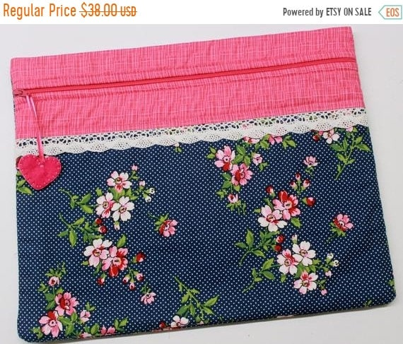 SALE Cherry Blossoms on Navy Cross Stitch Project Bag