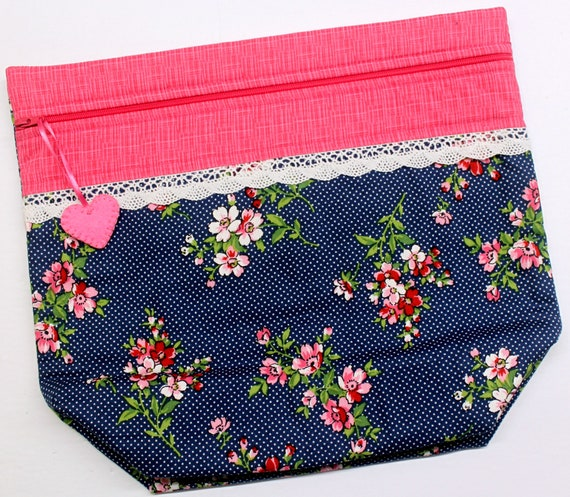 Big Bottom Cherry Blossoms Cross Stitch Project Bag