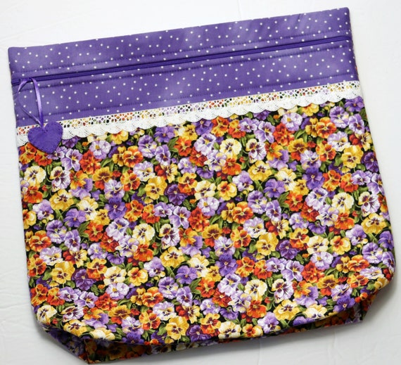 MORE2LUV Pansies Project Bag