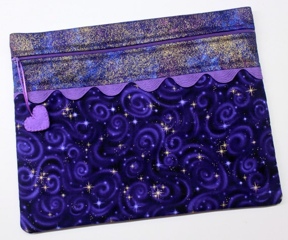 Purple Metallic Gold Star Gazer Cross Stitch Project Bag