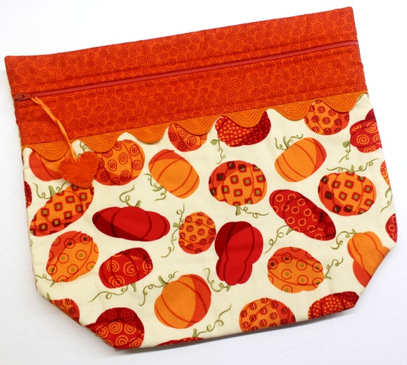 Big Bottom Bright Pumpkins Cross Stitch Project Bag