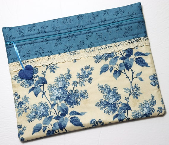 Lilacs in Blue Cross Stitch Project Bag