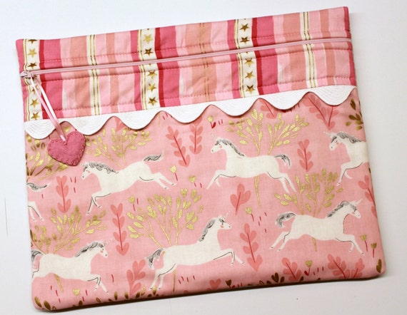 Pink Gold Unicorns Cross Stitch Project Bag
