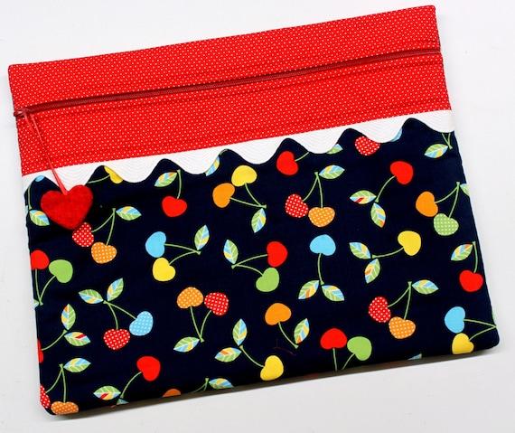 Bright Cherries Cross Stitch Project Bag