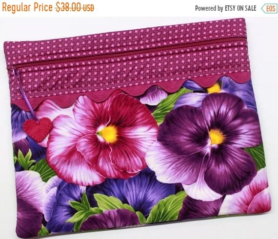 SALE Giant Pansies Cross Stitch Project Bag