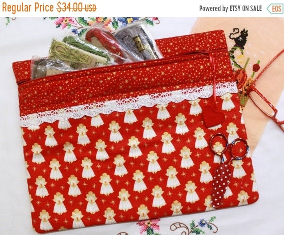 Red Metalic Gold Tiny Angels Cross Stitch Project Bag