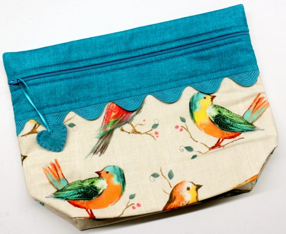 Lil' Big Bottom Teal Summer Birds Cross Stitch Bag