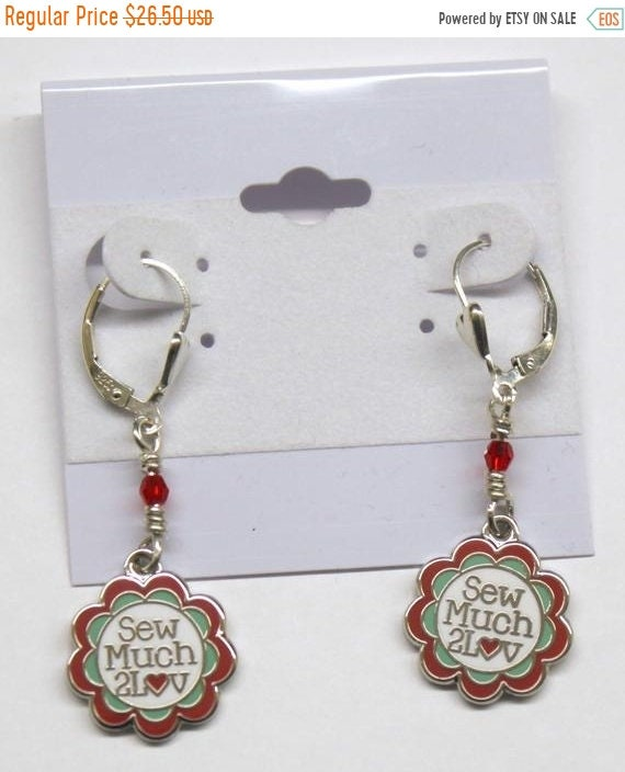 SALE Sterling Silver Earrings with Swarovski crystals and SewMuch2Luv Logo