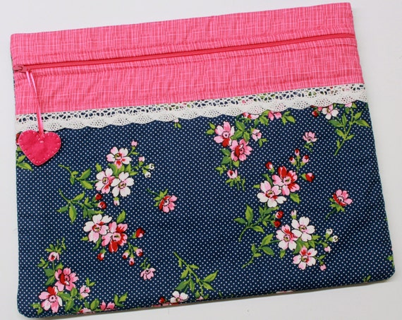 Cherry Blossoms on Navy Cross Stitch Project Bag