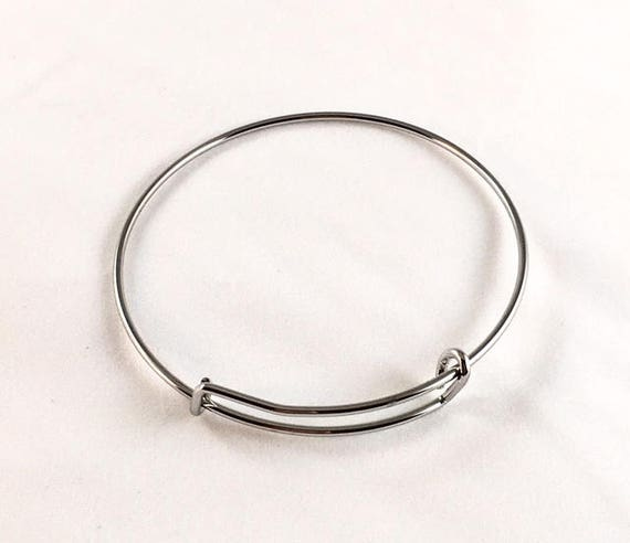 Stainless Steel Expandable Charm Bangle Bracelet
