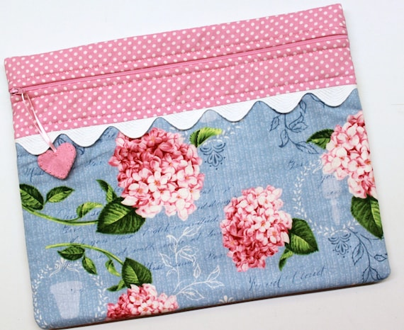 Pink Hydrangeas Cross Stitch Project Bag