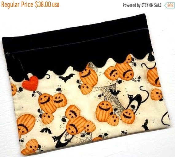 SALE Cats, Bats and Jack-o-lanterns Cross Stitch Project Bag