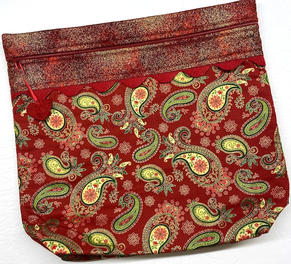 MORE2LUV Deep Red Paisley Cross Stitch Project Bag