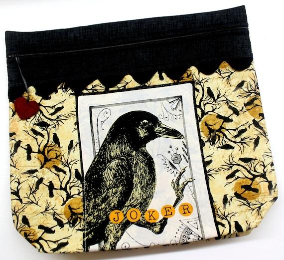 MORE2LUV Halloween Joker Crow Cross Stitch Project Bag