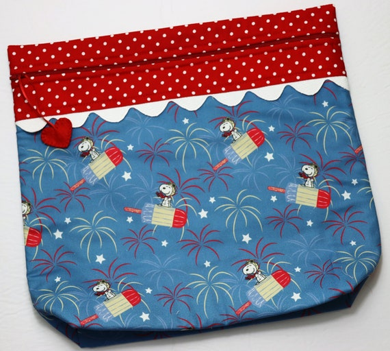 MORE2LUV Snoopy Patriotic Popsicle Cross Stitch Project Bag