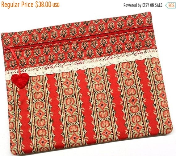 SALE Red Primitive Cross Stitch Project Bag