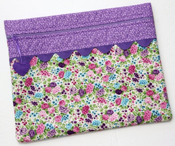 Purple Roses Cross Stitch Project Bag