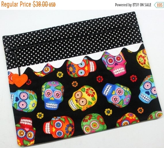 SALE Black Sugar Skulls Cross Stitch Project Bag