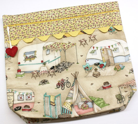 MORE2LUV Glamping Vintage Campers Cross Stitch Project Bag