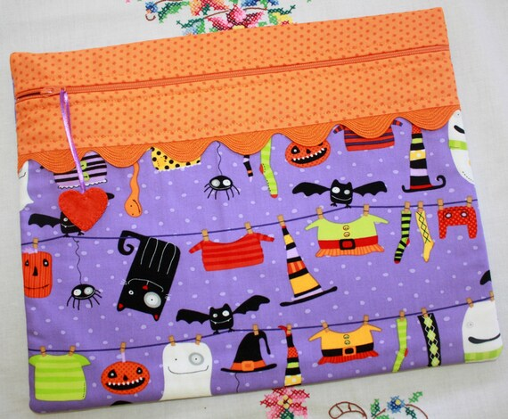 Witchy Wash Day Purple Halloween Cross Stitch Project Bag