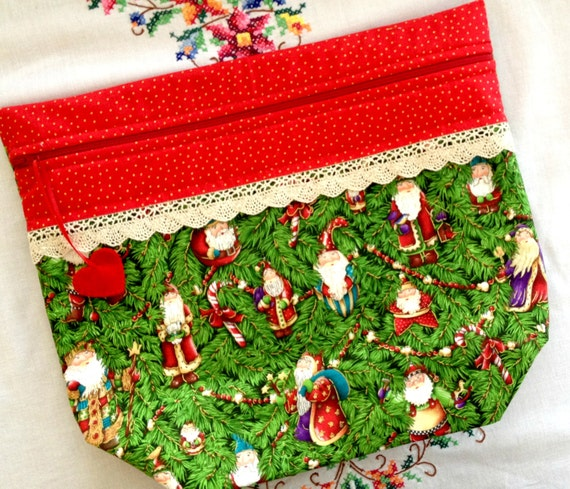 Big Bottom Bag Vintage Santa Ornaments Cross Stitch Project Bag