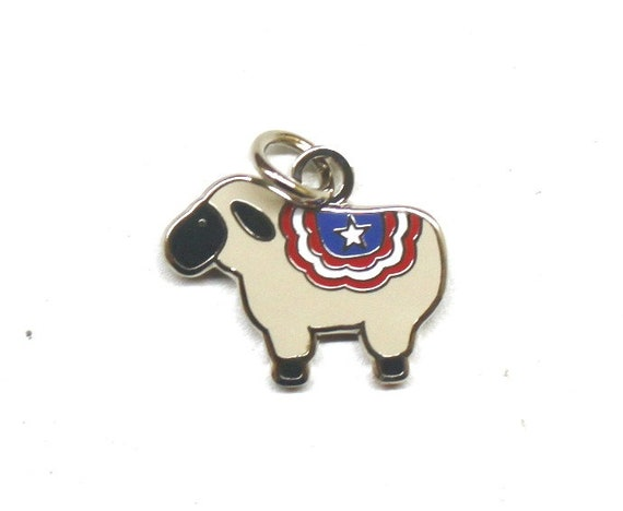 "Exclusive Primitive Patriotic Sheep 1/2"" Enamel Charm"