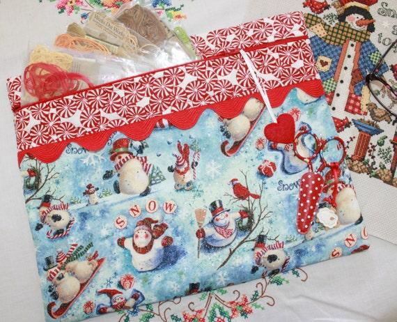 Glittery Snowman Cross Stitch Project Bag