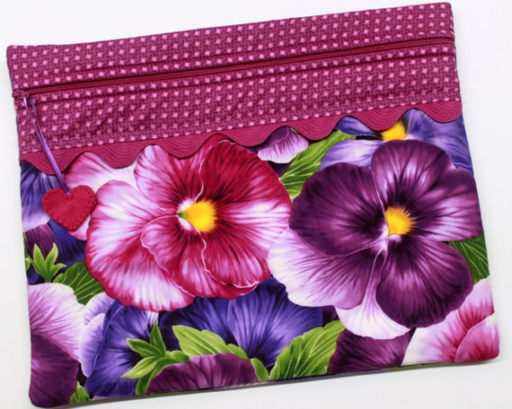 Giant Pansies Cross Stitch Project Bag