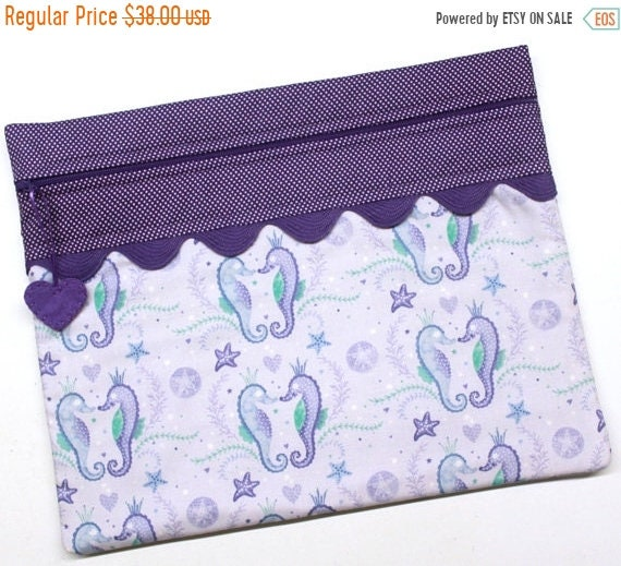 SALE Purple Seahorse Cross Stitch  Project Bag