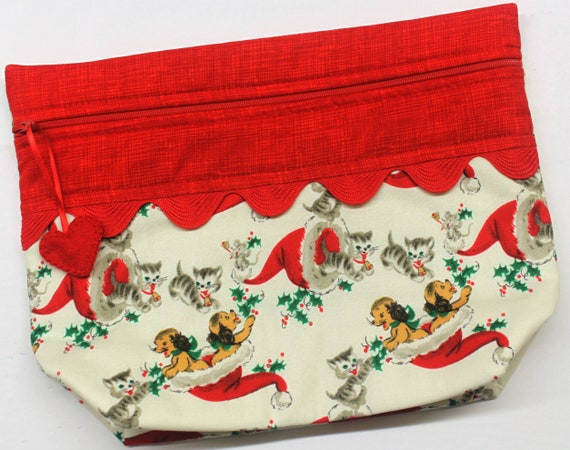 Lil' Big Bottom Vintage Puppies Kittens Christmas Cross Stitch Bag