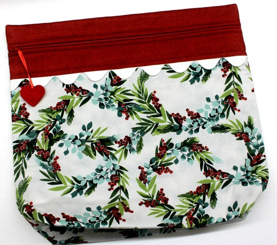 MORE2LUV Frosty Holly Wreaths Cross Stitch Project Bag