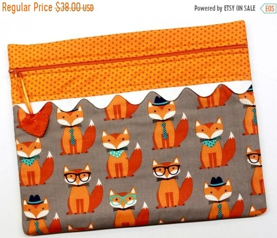 SALE Hello Foxy Cross Stitch Embroidery Project Bag