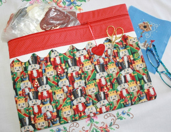 Christmas Nutcrackers Cross Stitch, Sewing, Embroidery Project Bag