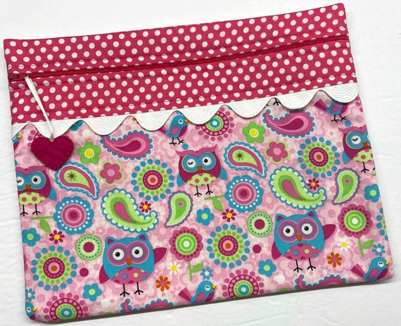 Pink Paisley Owls Cross Stitch Project Bag