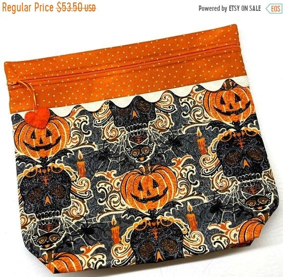 SALE MORE2LUV Glittering Halloween Cross Stitch Project Bag