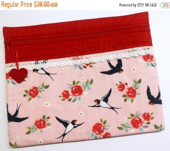 SALE Darling Swallows Cross Stitch Project Bag
