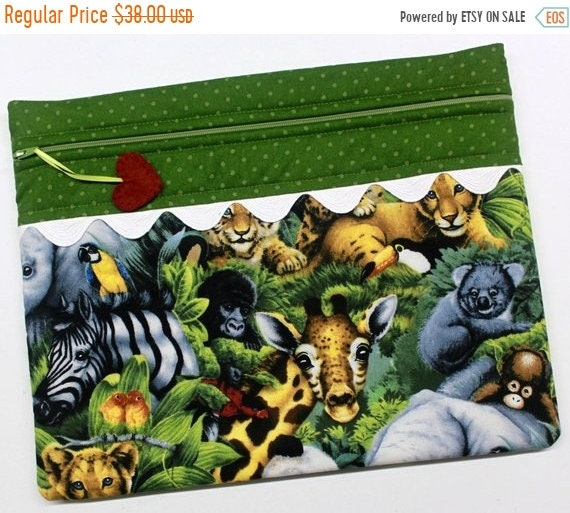 SALE Baby Jungle Animals Cross Stitch Project Bag