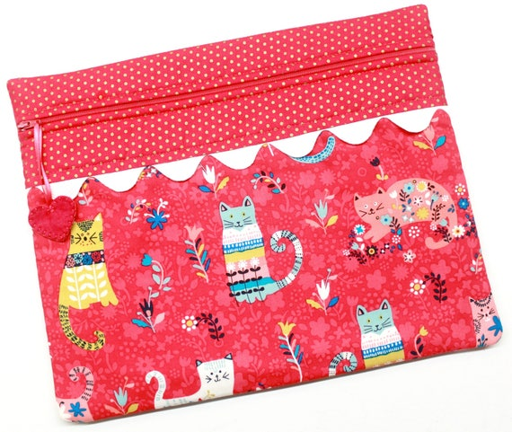 Bright Pink Flower Cats Cross Stitch Project Bag