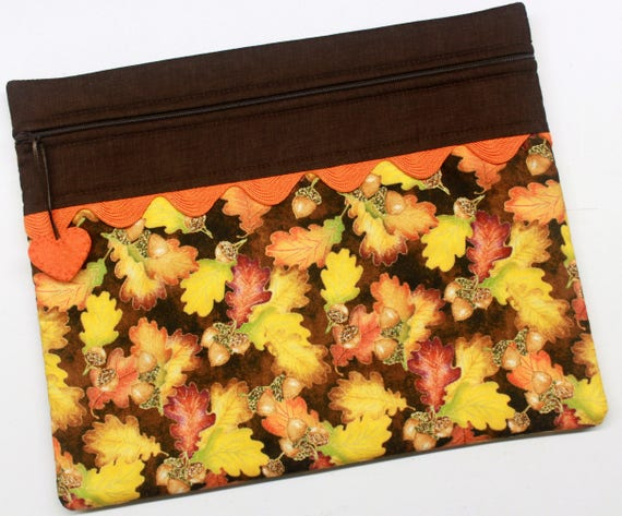 Autumn Gold Leaves Acorns Cross Stitch Project Bag