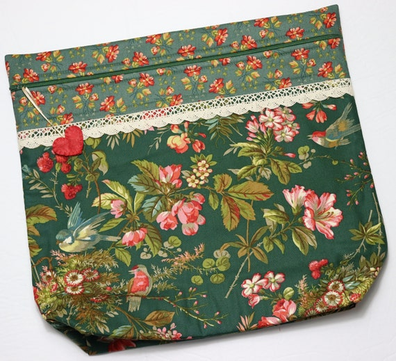 MORE2LUV Green Tapestry Cross Stitch Project Bag