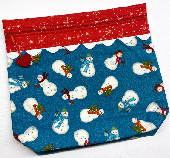 MORE2LUV Bright Happy Snowmen Cross Stitch Project Bag