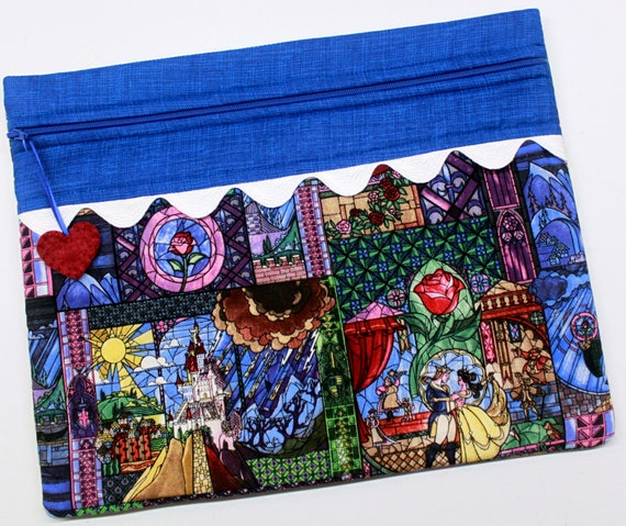 Stained Glass Beauty Beast Cross Stitch Project Bag