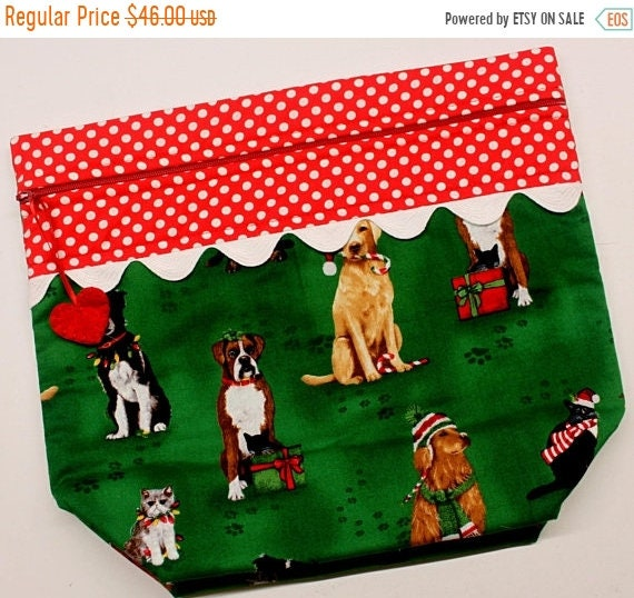 SALE Big Bottom Fur Babies Christmas Cross Stitch Project Bag