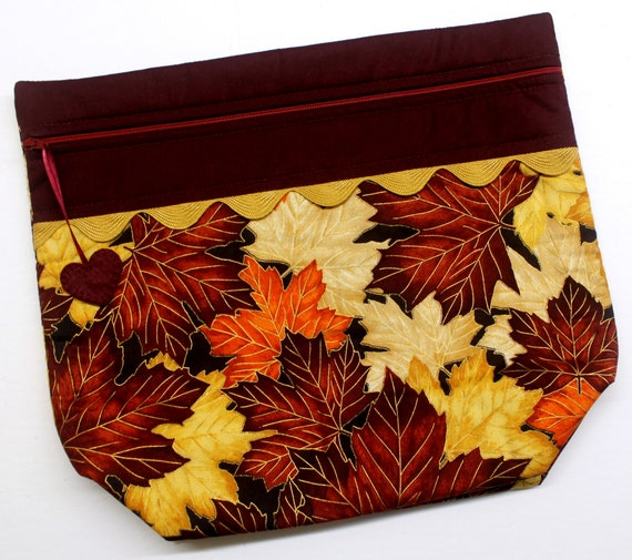 Big Bottom Maple Leaves Cross Stitch Project Bag