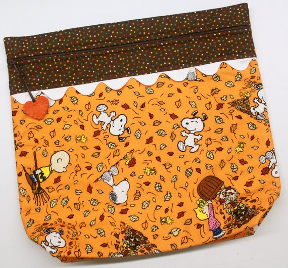 MORE2LUV  Fall Snoopy Cross Stitch Embroidery Project Bag