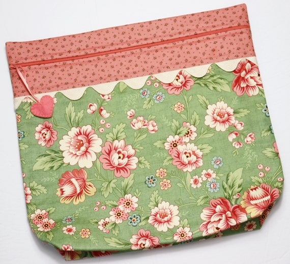 MORE2LUV Coral Floral Cross Stitch Project Bag