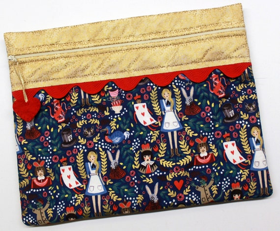 Golden Alice in Wonderland Cross Stitch Project Bag