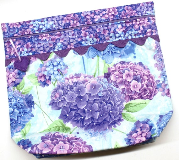 MORE2LUV Purple Hydrangeas Cross Stitch Project Bag