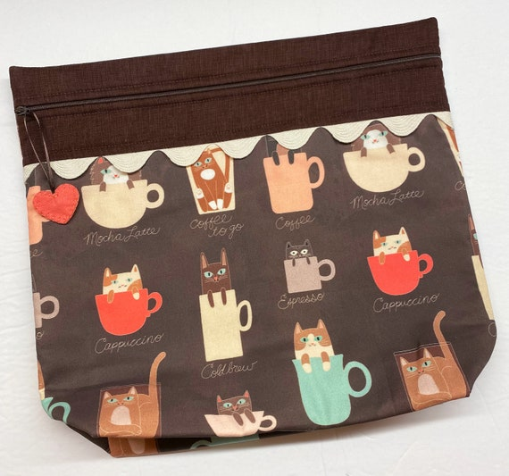 MORE2LUV Coffee Cats Cross Stitch Project Bag